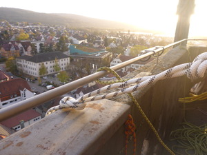 Abseiling from spire